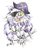 Watercolor pirate cat. Stylized sailor cat with corsair hat, eye patch and steering wheel. Watercolor pirate cat. Stylized sailor cat with corsair hat, eye Stock Photography