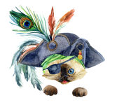 Watercolor pirate head Stock Image
