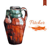 Watercolor pitcher isolated on white background, hand drawn vector illustration. Vintage style, sketch decorative dishware for design tea party, restaurant Stock Image