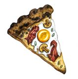 Watercolor pizza Carbonara stock illustration