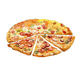 Watercolor Pizza pieces. On white background vector illustration