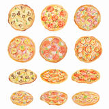 Watercolor pizza set. Stock Photography