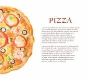 watercolor pizza. Stock Photos