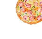 watercolor pizza. Stock Photo
