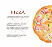 watercolor pizza. Royalty Free Stock Photo