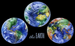 Watercolor planet earth views. Americas, europe and asia views. Stock Images