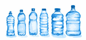 Watercolor plastic bottles set. Blue bottles with waterstanding on white background. Fresh healthy beverage Stock Photos