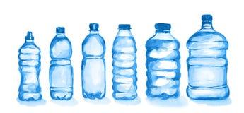Watercolor plastic bottles set. royalty free stock photo
