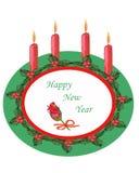 watercolor Plats de composition en Noël, décorés des feuilles vertes, des baies rouges et des bougies illustration de vecteur