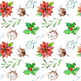 Watercolor poinsettia and cotton flowers winter Christmas seamless pattern Royalty Free Stock Photography