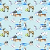 Watercolor polar animals at the zoo seamless pattern. Hand drawn on a blue background vector illustration
