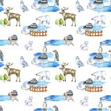 Watercolor polar animals at the zoo seamless pattern. Hand drawn on a white background stock illustration