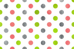 Watercolor polka dot background. Watercolor lime geen, pink and acryl silver polka dot background. Pattern with polka dots for scrapbooks, wedding, party or Stock Image