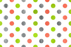Watercolor polka dot background. Watercolor lime geen, salmon pink and acryl silver polka dot background. Pattern with polka dots for scrapbooks, wedding, party Royalty Free Stock Images