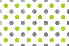 Watercolor polka dot background. Watercolor lime green and acryl silver polka dot background. Pattern with polka dots for scrapbooks, wedding, party or baby Stock Images