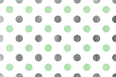 Watercolor polka dot background. Watercolor mint and acryl silver polka dot background. Pattern with polka dots for scrapbooks, wedding, party or baby shower Royalty Free Stock Photography