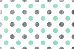 Watercolor polka dot background. Watercolor seafoam blue and acryl silver polka dot background. Pattern with polka dots for scrapbooks, wedding, party or baby Stock Image