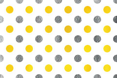 Watercolor polka dot background. Watercolor yellow and acryl silver polka dot background. Pattern with polka dots for scrapbooks, wedding, party or baby shower Stock Photos