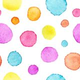 Watercolor polka dot pattern. Watercolor background with circles. Vector illustration.  Royalty Free Illustration