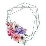 Watercolor polygonal frame with anemone, tulip and hydrangea. Hand drawn label with hydrangea, anemone, tulip, leaves vector illustration