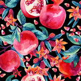 Watercolor pomegranate bloom branches and fruit seamless pattern. Pomegranate fruit, berries and flower on black background. Hand painted illustration stock illustration