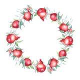 Watercolor pomegranate (garnet) wreath. Stock Photos