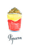 Watercolor popcorn in yellow-red paper box Stock Photo