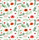 Watercolor Poppies, Little Red Flowers And Leaves Repeat Pattern Royalty Free Stock Images