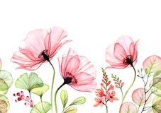 Free Watercolor Poppy Seamless Border. Horizontal Repetitive Pattern. Abstract Pink Flowers With Leaves And Fresia Branches Stock Images - 179147634