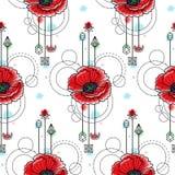 Watercolor Poppy Seamless Pattern Stock Photo