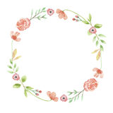Watercolor Poppy Wreath Spring Garland Peach Coral Leaves vector illustration