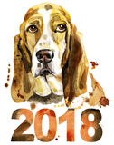 Watercolor portrait of basset hound with year 2018 Stock Image