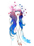 Watercolor Portrait of Beautiful Girl Royalty Free Stock Image