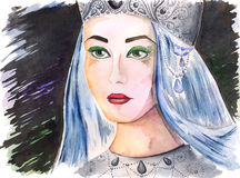 Watercolor portrait of beautiful queen princess girl Stock Image