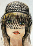 Watercolor Portrait of a Beautiful Woman. With a vailed hat Stock Photography