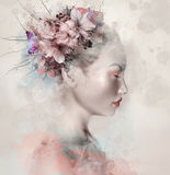 Watercolor portrait if a woman Royalty Free Stock Image
