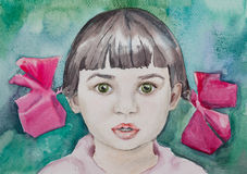 Watercolor portrait of little cute baby girl on turquoise backgr Stock Image