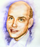 Watercolor portrait of man Royalty Free Stock Photo