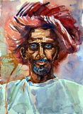Watercolor portrait of an old man in a turban. Watercolor portrait of an old man with blue eyes, in a turban. en face Stock Images