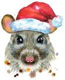 Watercolor portrait of rat in Santa hat with splashes. Cute rat in Santa hat for t-shirt graphics. Watercolor rat illustration vector illustration