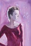 Watercolor portrait of teen girl  on winter snowy night sky Stock Photo