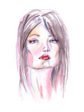 Watercolor portrait of a woman Stock Photos
