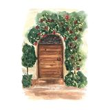 Watercolor postcard with decorative floral old wooden door. Provence design. Italy romantic place. vector illustration