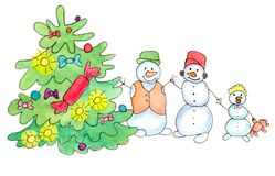 New year tree and family of snowmans. Watercolor postcard of snowmans family and new year tree on white background vector illustration