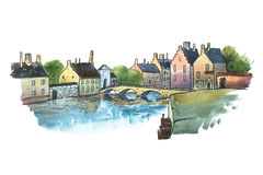 Watercolor postcard of stone bridge in a small old German town. Aquarelle illustration  European city in summer Stock Images