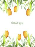 Watercolor postcard with yellow tulip flowers stock illustration