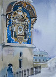 Watercolor postcart illustration with medieval clock on Concierg. Erie prison building with a man in historical dress Royalty Free Stock Photography