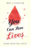 Watercolor poster for blood donating Stock Photography