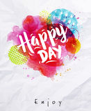 Watercolor poster happy day Royalty Free Stock Photos