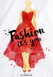 Watercolor poster lettering fashion its you Royalty Free Stock Images